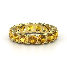 14K Yellow Gold Ring with Citrine | Band of Brilliance | Gemvara