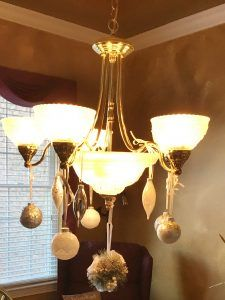 Add Some Festive Fun to your Chandler – Crystals and Cleats Christmas Decorations, Christmas Ornaments, Christmas Ideas, Vintage Christmas, Cleats, Festive, Chandelier, Ceiling Lights, Ads
