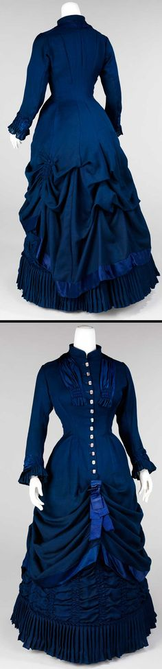 Dress, American, 1881. Wool, linen, silk, mother of pearl. Metropolitan Museum of Art