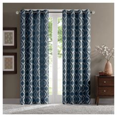 "Mestre Geo Chenille Curtain Panel - Blue (52""x95"")"