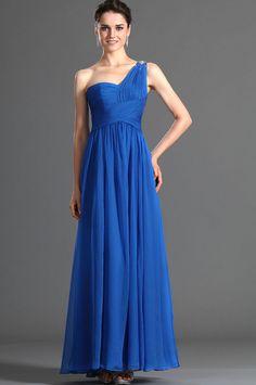 royal blue one shoulder chiffon classic dress