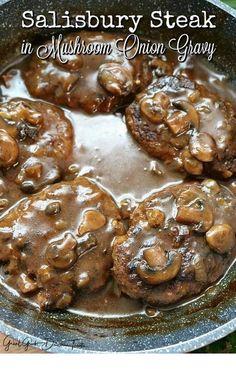 Salisbury Steak in Mushroom Onion Gravy - Pan seared ground beef patties cooked in a mushroom gravy. Comfort food at it's best. Salisbury Steak in Mushroom Onion Gravy - Pan seared ground beef patties cooked in a mushroom gravy. Comfort food at it's best. Easy Steak Recipes, Grilled Steak Recipes, Hamburger Recipes, Cooking Recipes, Chopped Steak Recipes, Steak Meals, Cooking Tips, Minute Steak Recipes, Hamburger Steaks