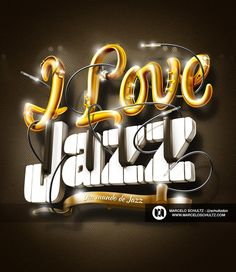 I Love Jazz - Lettering on Typography Served Typography Served, Typography Letters, Hand Lettering, Font Design, Typography Design, Typography Inspiration, Graphic Design Inspiration, Wacom Intuos 5, Calligraphy Text