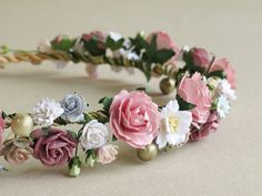 Old Rose & Mauve Flower Crown - Paper flower headpiece - Made of mulberry paper and natural twine