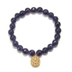 Gold Amethyst Ganesha Stretch Bracelet