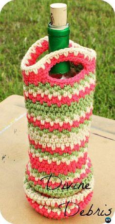 Crochet Willow Wine Bottle Cozy Free Pattern - Crochet Wine Bottle Cozy Bag & Sack Free Patterns