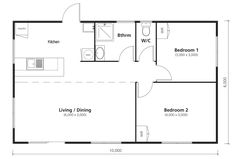 Family sized 2 bedroom new transportable home 2 Bedroom Floor Plans, Bedroom Flooring, House Plans, Bedrooms, Homes, How To Plan, Google Search, Bedroom Floor Plans, Blueprints For Homes