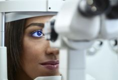 Optician, Young woman during eye test Sinus Problems, Eyes Problems, High Blood Sugar Causes, Test Exam, Eye Infections, Find A Doctor, Eye Doctor, Health