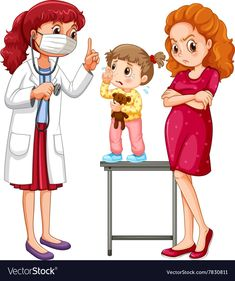 Doctor and crying girl vector image on VectorStock Cartoon Kids, Cartoon Images, Medical Clip Art, Mother Clipart, Medical Wallpaper, Crying Girl, Cartoon Sketches, Kids Stickers, Flower Aesthetic