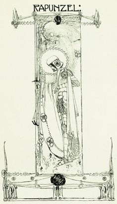 """""""Rapunzel"""" by Jessie M. King from """"The defence of Guenevere, and other poems by William Morris; illustrated by Jessie M. King."""""""