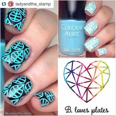 """ BLP11 B. a Blue Ocean #stamp over #white and #black! #Review made by @ladyandthe_stamp  #swatches #test #blogger #stamping #stampingnailpolish…"""