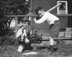 An poster sized print, approx (other products available) - Two boys playing baseball in garden, (B&W) - Image supplied by Fine Art Storehouse - poster sized print mm) made in Australia Fine Art Prints, Framed Prints, Canvas Prints, Framed Wall, Vintage Photographs, Vintage Photos, Civil War Heroes, National Baseball League, Boys Playing