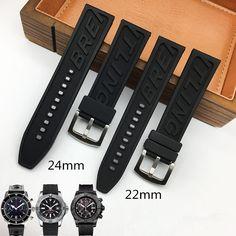 TJP Brands High Quality Rubber Watch Strap 22mm 24mm BlackWatchbands Bracelet For navitimer/avenger/Breitling Wristband //Price: $US $20.00 & FREE Shipping //     #hashtag4