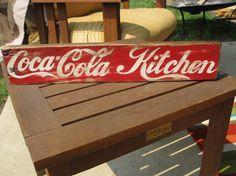 Coca-Cola Kitchen hand painted sign for Coca-Cola Collectors very unique made to… Coca Cola Life, World Of Coca Cola, Coca Cola Kitchen, Coca Cola Decor, Pallet Wall Decor, Always Coca Cola, Bottle Painting, Home Decor Signs, Hand Painted Signs