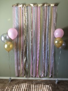 Pink, Gold and Silver Photo backdrop for 1st birthday party