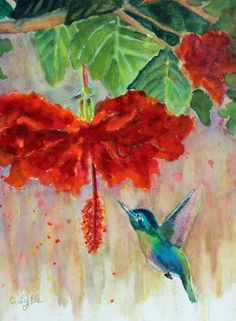 inch Red Hibiscus,Flower,includes frame,For your home Sale Artwork, Pastel Art, Original Art Prints, Hummingbird Painting, Giclee Art Print, Art, Pastel Artwork, Original Watercolor Art, Original Art