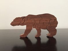 Bear puzzle made from walnut wood