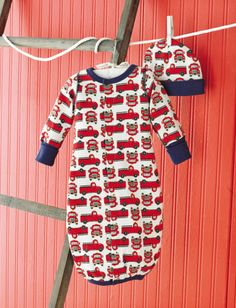 d1baa9286d9 Mud Pie Firetruck Convertible Gown   Hat is perfect for bringing home your  tiny baby boy