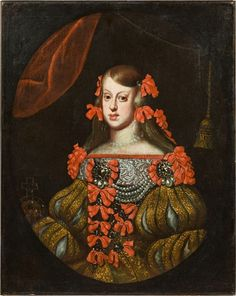 Artwork by Diego Velázquez, Infanta Margarita Teresa Made of Oil on canvas; Oil on paper on canvas Infanta Margarita, Spanish Netherlands, Austria, Holy Roman Empire, Spanish Fashion, Spanish Artists, Baroque Fashion, Spain And Portugal, Global Art