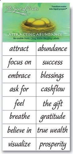 Abundance flows to me freely and easilyhttp://thespiritofwater.com/products/awakened-prosperity