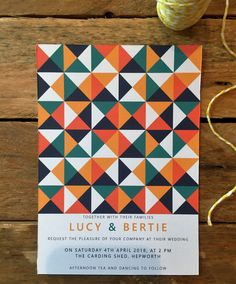 RETRO Wedding Invitation, personalised, printable, downloadable, by AnnaVictoriaDesigns