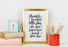 PRINTABLE Art Twinkle Twinkle Little Star Song Nursery by TypoHome
