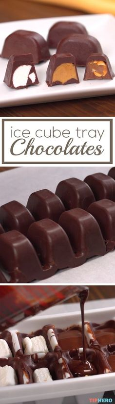Make delicious filled chocolates at home with this simple recipe. With a few simple ingredients - milk or dark chocolate and your favorite fillings like nuts peanut butter marshmallows or caramel - and some ice cube trays you can whip your own homemad Homemade Chocolates, Homemade Candies, Homemade Butter, Candy Recipes, Sweet Recipes, Dessert Recipes, Simple Recipes, Pie Recipes, Snacks