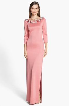 St. John Collection Embellished Sateen Milano Knit Gown available at #Nordstrom