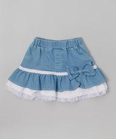 White & Blue Ruffle Skirt - Toddler & Girls