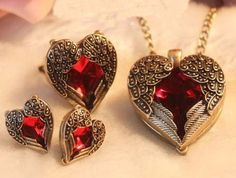 Heart Love Design 3 pc Set Big Red Rhinestone Necklace ~Ring~ Earrings Jewelry Set NEW
