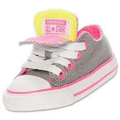 Baby Girls Shoes Converse Chuck Taylor Double Tongue Ox Toddler Sizes Grey Pink | eBay