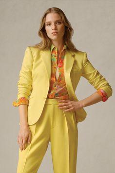 The Amiya Wool Gabardine Jacket, Hailey Floral Silk Shirt, and Ferra Wool Gabardine Pant exemplify the finest Italian craftsmanship. #RalphLauren Ralph Lauren Collection, Cool Style, Glamour, Silhouette, Blazer, Couture, Silk, Elegant, Jackets