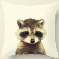 Modern Simple Cotton Linen Pillow Case Animal Fox Bear Cat Pattern Chair Seat Square 45x45cm Pillow Cover Home Living Textile