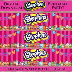 Printable Shopkins Water Bottle Labels! Digital Download! Printable Shopkin birthday party!