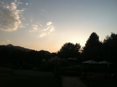 Sunset over the mountains at our hotel