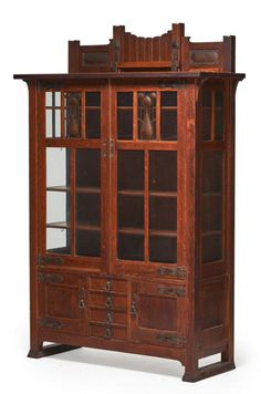 """STICKLEY BROTHERS, China cabinet with hammered copper details, Grand Rapids, MI, ca. 1905, Unmarked, 74"""" x 48"""" x 18""""  