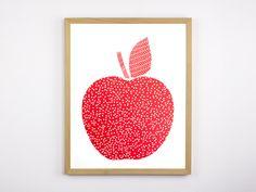 APFEL+Siebdruck+A3+Rot+Plakat+Appel+Obst+Bild+Home+von+Morkebla+auf+DaWanda.com