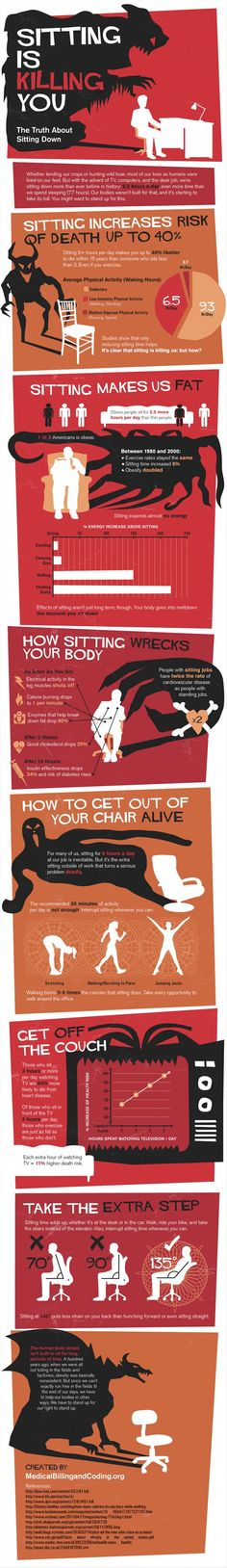 Just How Dangerous Is Sitting All Day? As we enter the second decade of the 21st century, there is one thing nearly all modern Americans have in common: we sit all the time. An Infographic by medicalbillingand.... #diet #workout #fitness #weightloss #loseweight