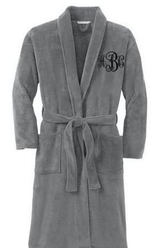 Buy Womans Robe personalized - Smoke color - monogrammed bath robe by emagesembroidery. Explore more products on http://emagesembroidery.etsy.com