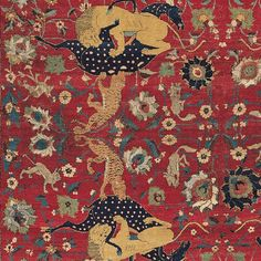 Detail of the Sarre Central Persian animal carpet, Kashan, mid 16th century.