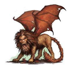 Manticore, a Monster with the Head of a Man, the Body of a Lion, and a Tail That can Shoot Spikes