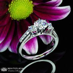 3 stone channel set diamond engagement ring