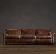 "The Dream: Restoration Hardware Lancaster Leather Sofa 112"" or 120"" width with 49"" depth. I will someday sit on this in my own living room and not just in every Restoration Hardware store I encounter."
