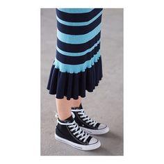 Skirt issue - rib-knit, stripes and swishy drop frill hem. Do it. #PushWEARS #Les100Ciels