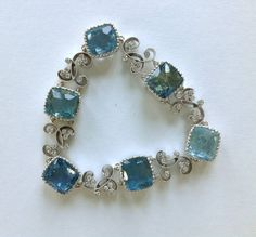Dalben Aquamarine Diamond Gold Bracelet   From a unique collection of vintage link bracelets at https://www.1stdibs.com/jewelry/bracelets/link-bracelets/