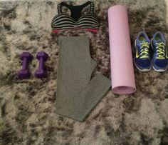Early morning workout!  Grey leggings,  Grey and black stripe sports bra, Nike running trainers, Dumbells & Yoga mat