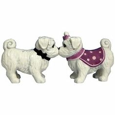 """Maltese Salt & Pepper Shakers . $10.95. Our Maltese Salt & Pepper Shakers measure about 3-1/2"""" H x 3"""" W x 1-1/2 L and are made from hand painted ceramic, magnets on their noses keep them together forever."""