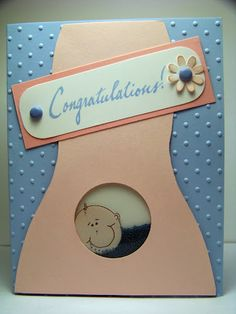 shaker card for an expectant mother Card Making Tutorials, Making Ideas, Baby Cards, Kids Cards, Pregnancy Congratulations, Pregnancy Scrapbook, Punch, Baby Shower, Shaker Cards