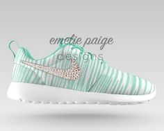 Custom Nike Roshe Run (Mint Print White) running shoes with Swarovski  Crystals 27a4453d9d