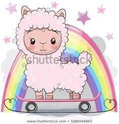 Illustration about Cute Cartoon Alpaca with skateboard on a rainbow background. Illustration of alpaca, skateboard, school - 116182852 Cute Hippo, Cute Lion, Cute Monkey, Kitten Cartoon, Cartoon Monkey, Cartoon Rabbit, Funny Sheep, Cute Sheep, Cute Kawaii Girl